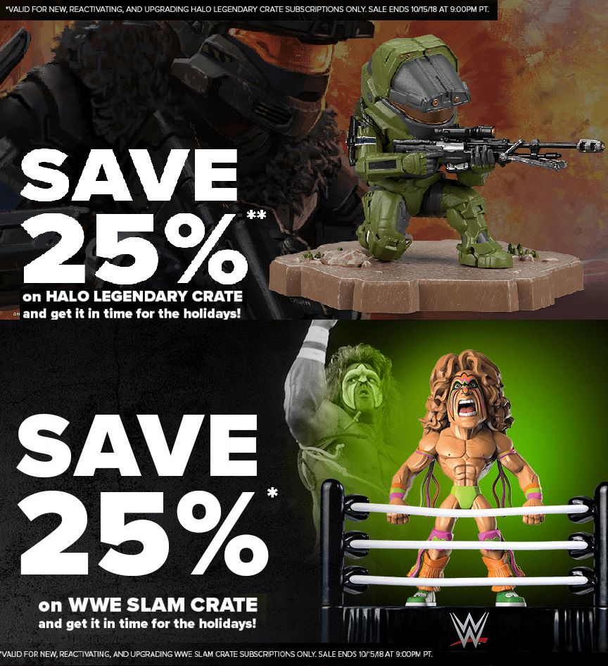 Loot Crate Coupon: Get 25% Off Halo Legendary Crate & WWE Slam Crate!