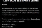 October 2018 Loot Crate DX Shipping Update