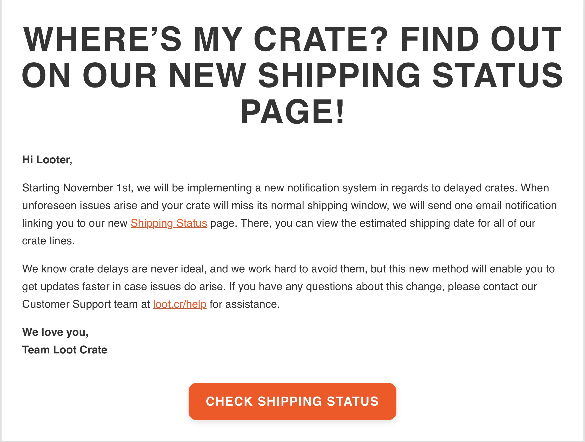 Loot Crate Shipping Status Page Available Now + Holiday Shipping Update!