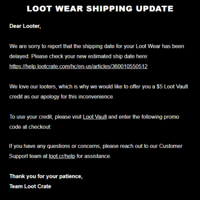 Loot Wear October 2018 Shipping Update