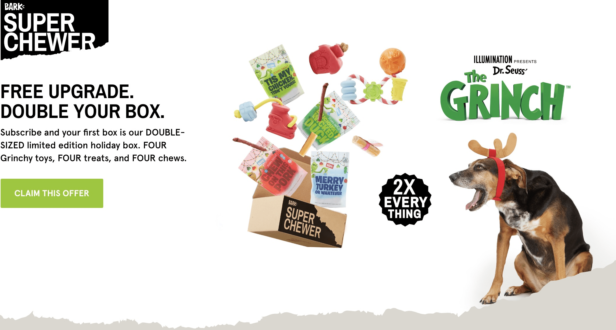 BarkBox Super Chewer Coupon: Double Your Box First Month Deal + GRINCH!