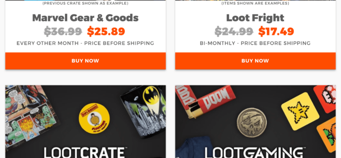 Loot Crate Coupon: Get 30% Off Core Crate, Loot Fright, and Marvel Gear + Goods Subscriptions! Loot Gaming Added! LAST CALL!