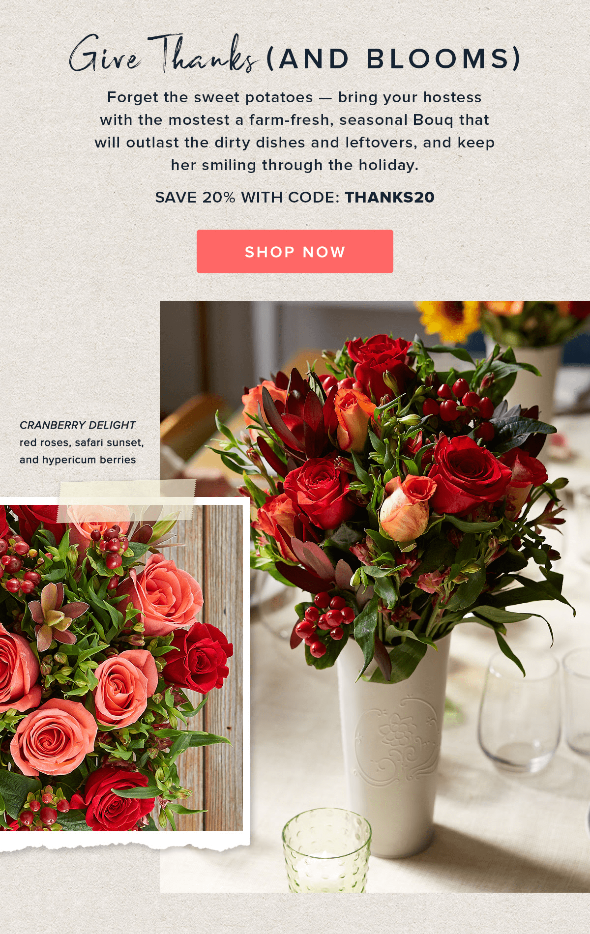 The Bouqs Thanksgiving Sale: Get 20% Off!