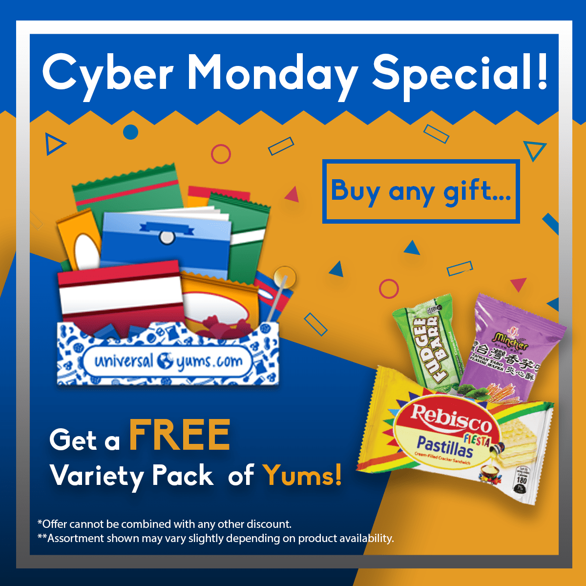 Universal Yums Cyber Monday 2018 Coupon: Get a FREE Variety Pack of Yums With Any Gift Subscription – TODAY ONLY!