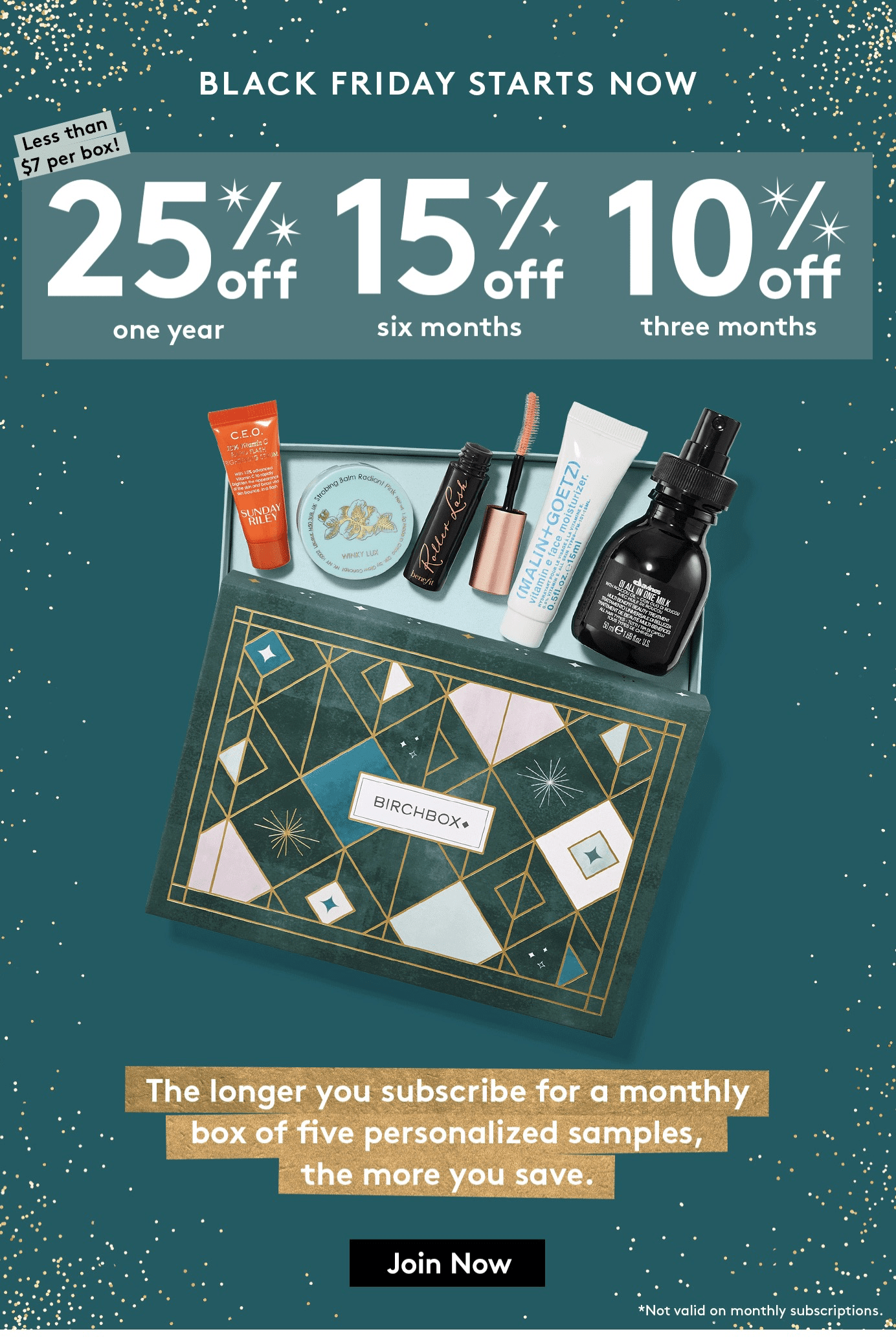 Birchbox Cyber Monday Coupon: Subscription Plans Up to 25% Off!
