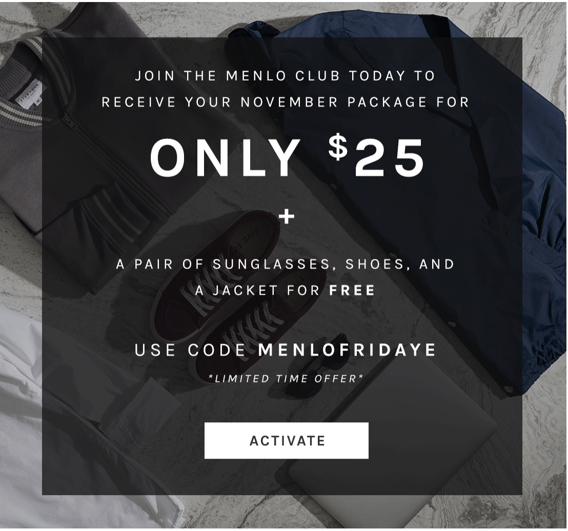 Menlo Club Black Friday Coupon: First Box for $25 + FREE Sunglasses, Shoes, & Jacket!