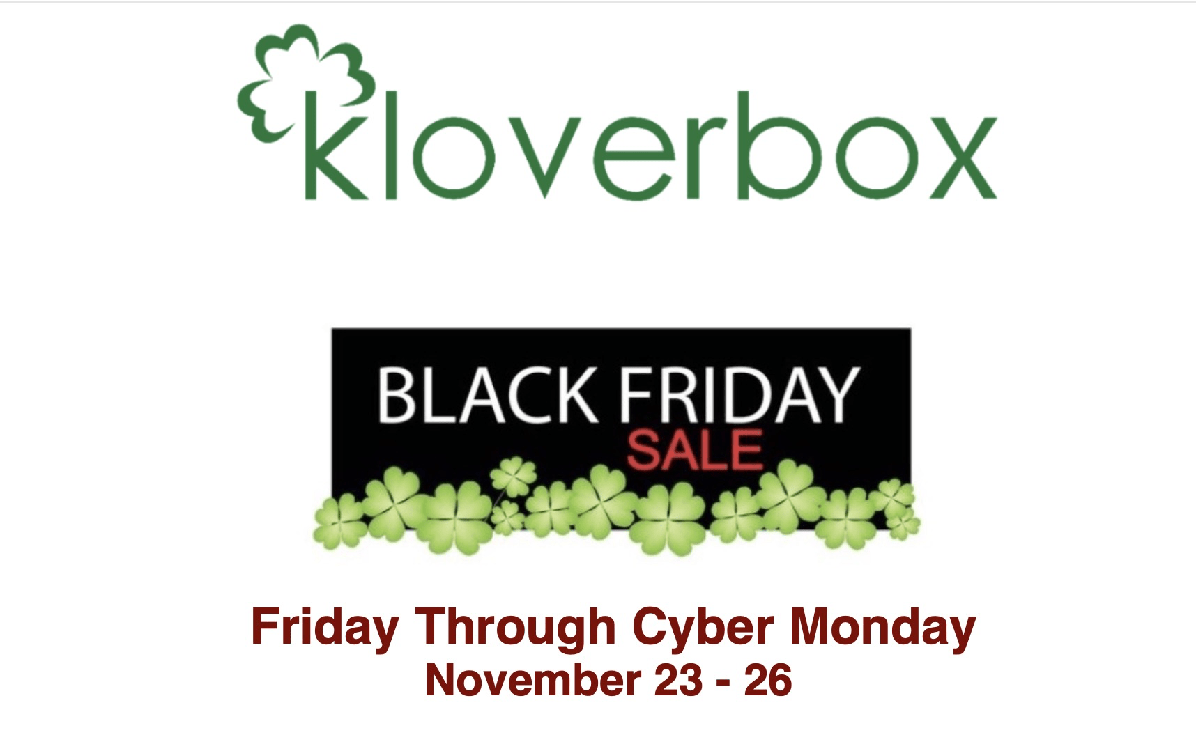 Kloverbox 2018 Black Friday Sale: Get a FREE Bonus Box with Prepaid Subscription!