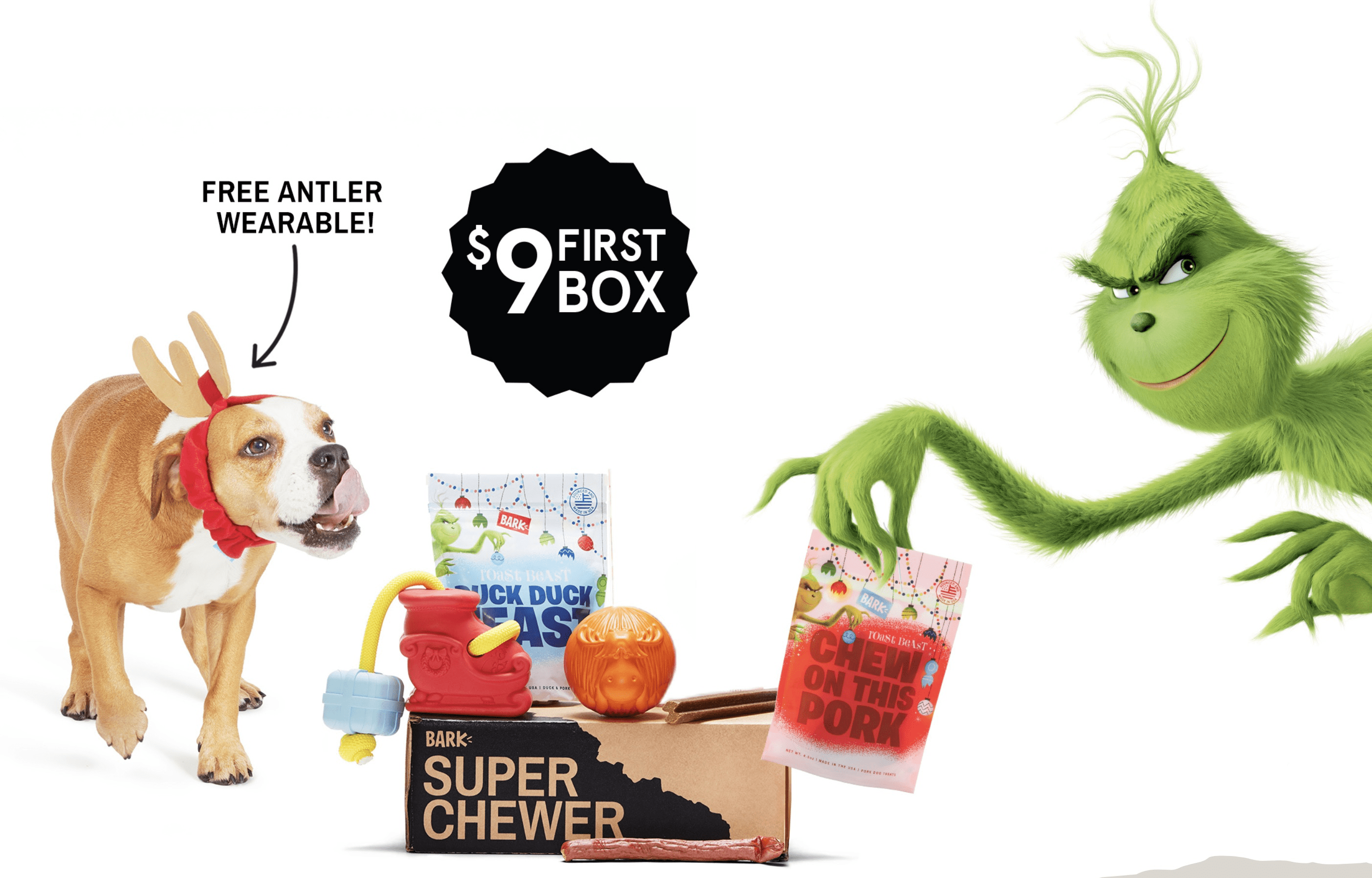 BarkBox Super Chewer Cyber Monday Deal: First Month $9 Deal + GRINCH!