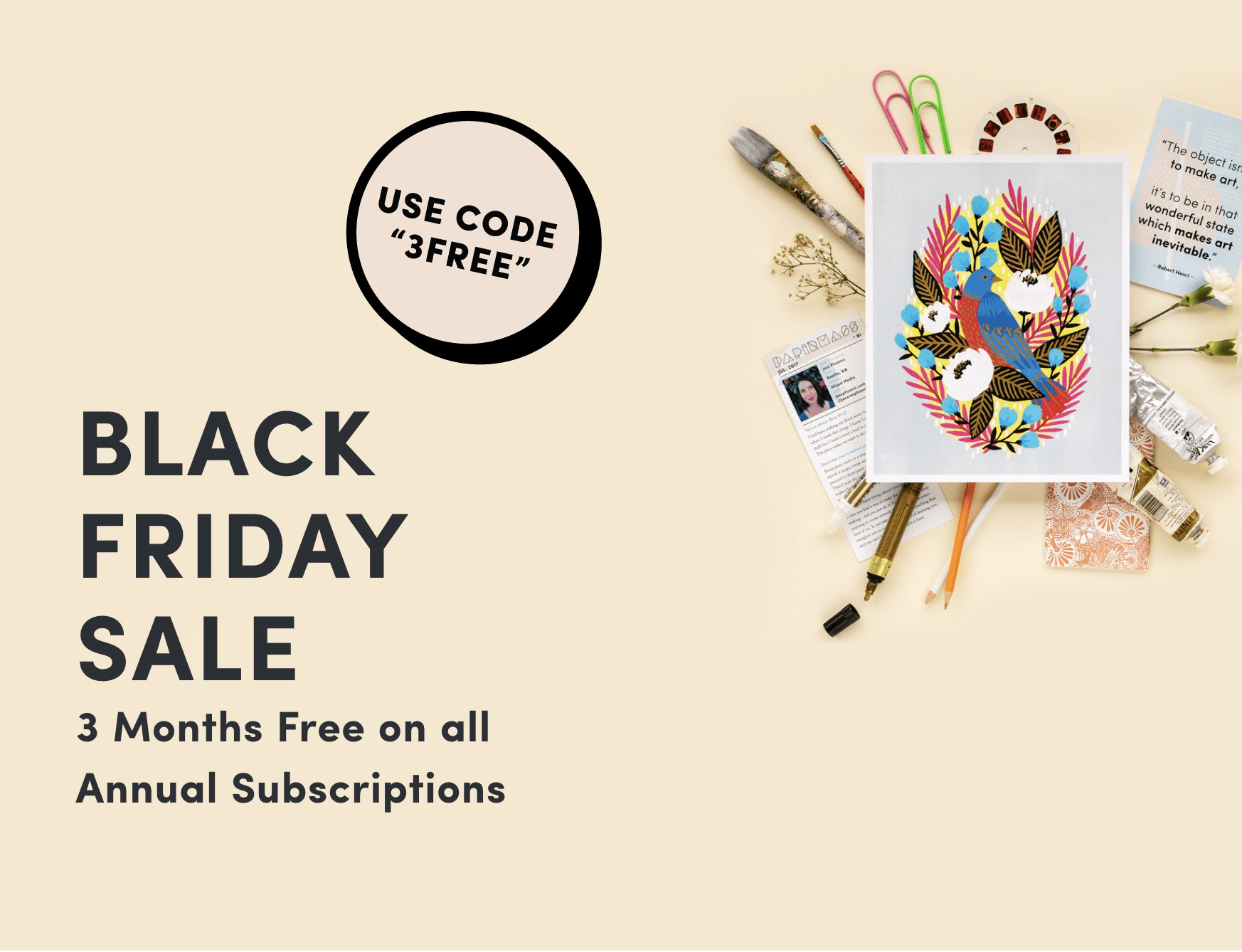 Papirmass Art Subscription Black Friday Deal: 3 Months Free on Annual Subscriptions!