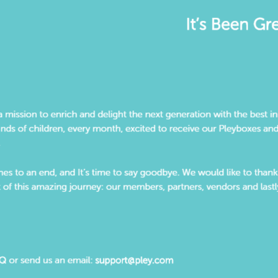 Pleybox Subscriptions Closing