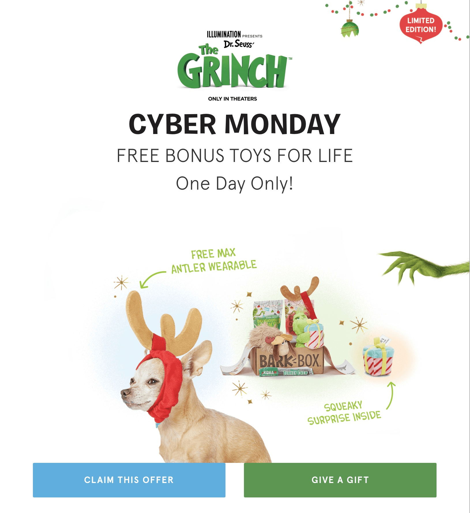 Barkbox Cyber Monday Coupon Get Free Bonus Toy Every Month With 3