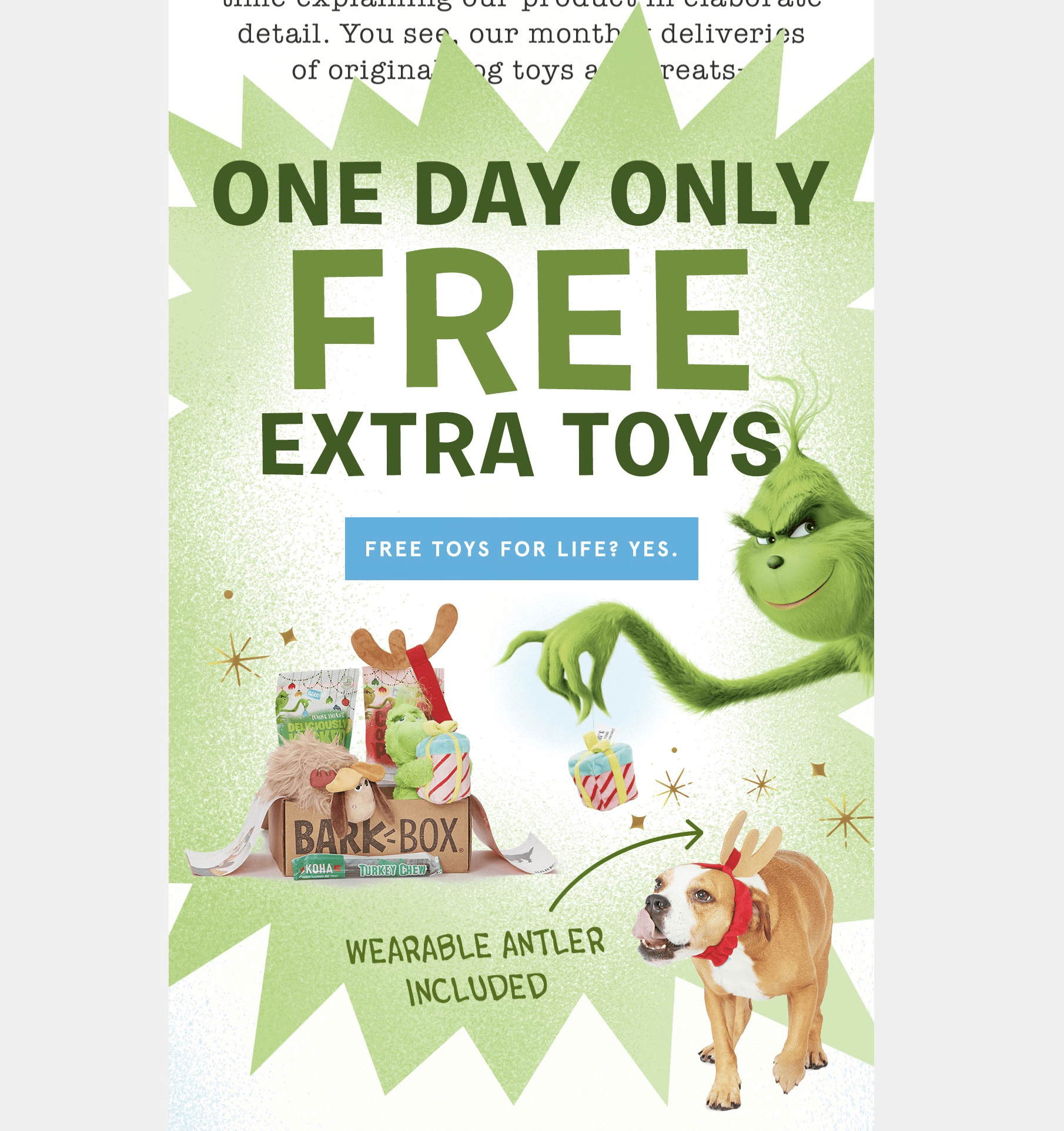 BarkBox Cyber Monday Coupon: Get FREE Bonus Toy Every Month! FUREVER!