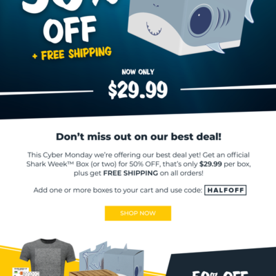The Official Shark Week Box Cyber Monday 2018 Deal: Get 50% Off Boxes + Free Shipping!