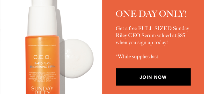 Allure Beauty Box TODAY ONLY Deal: Free Sunday Riley CEO Serum with Subscription!