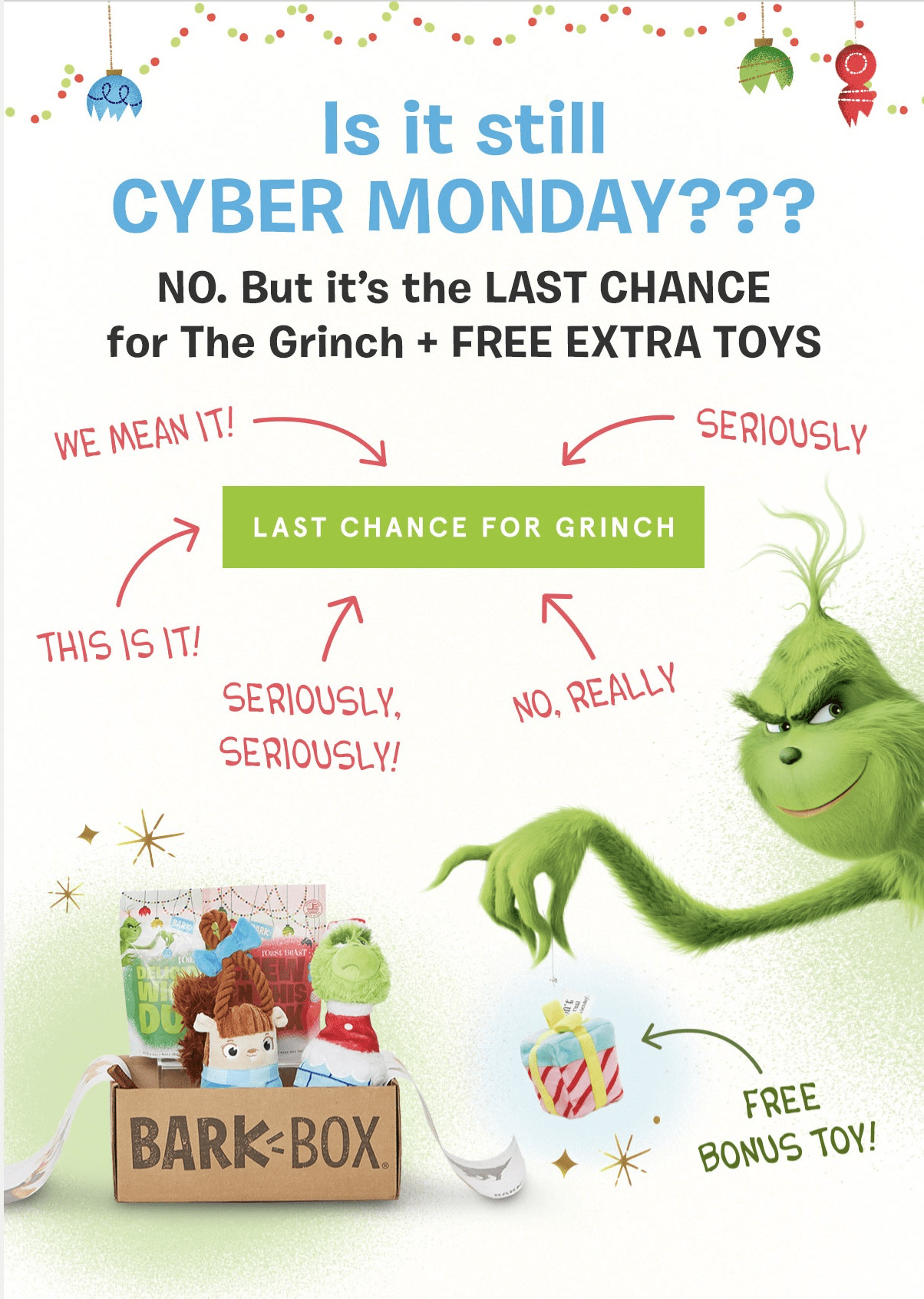 BarkBox Coupon: LAST DAY to Get FREE Bonus Toy Every Month + Grinch Box!