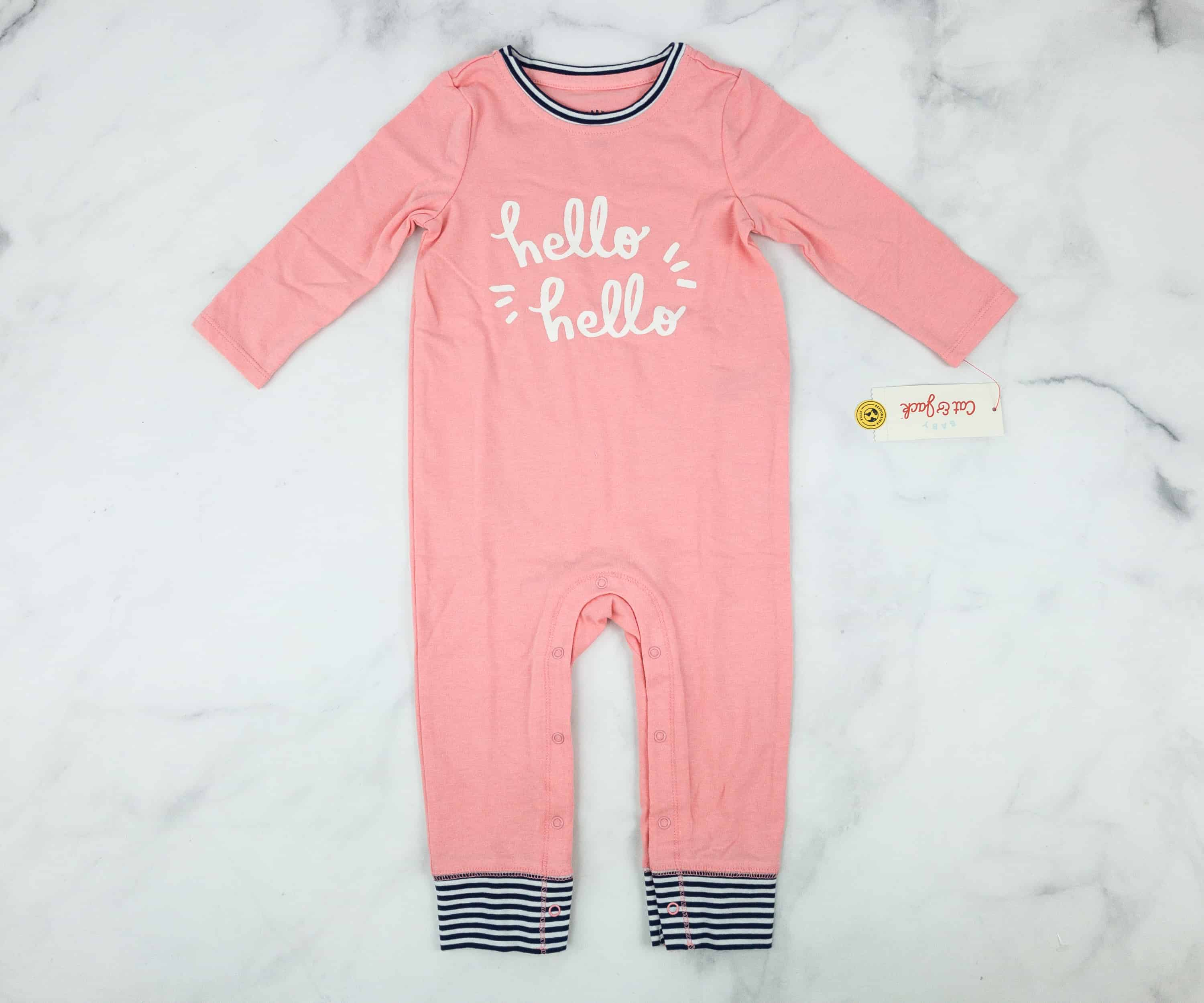488d8f6a2eb3 Cat   Jack Baby Girl s Hello Hello One-Piece. There s another one-piece  suit in this box! It has three fourth sleeves and long pants which is  perfect for ...
