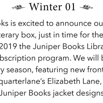 New Subscription Box: Juniper Books Library Card Coming Soon + Spoilers!