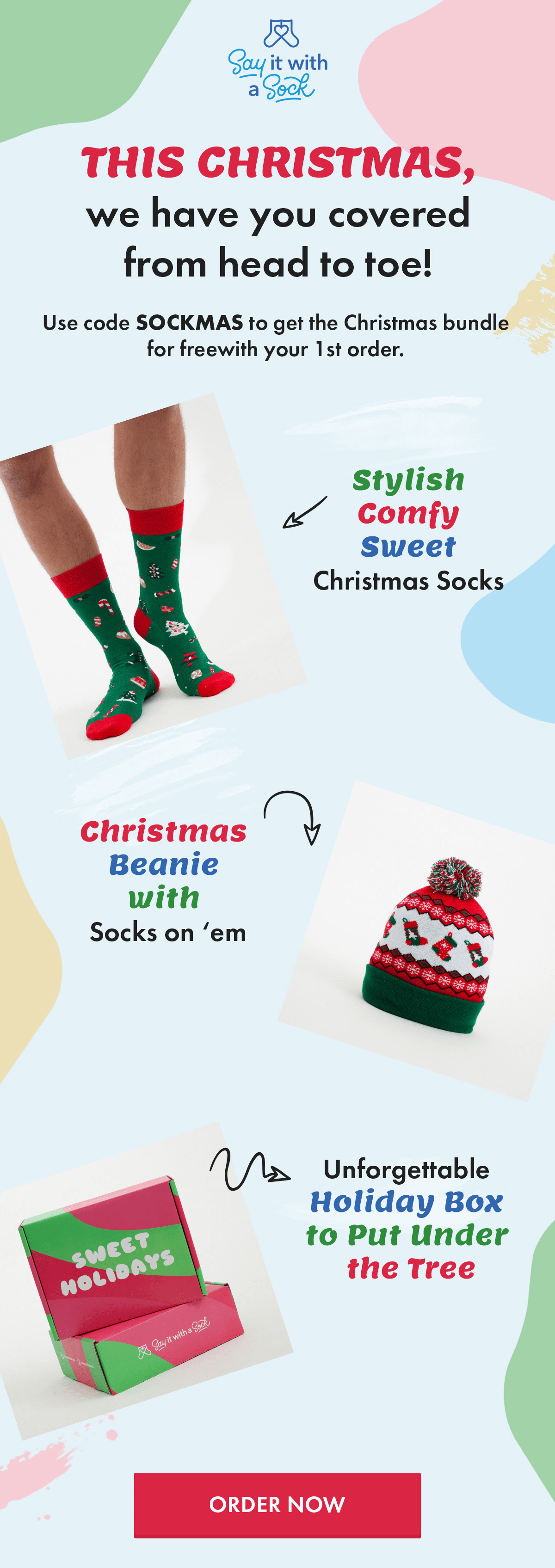 Say It With A Sock Holiday Deal: Get Free Christmas Bundle on your First Box!