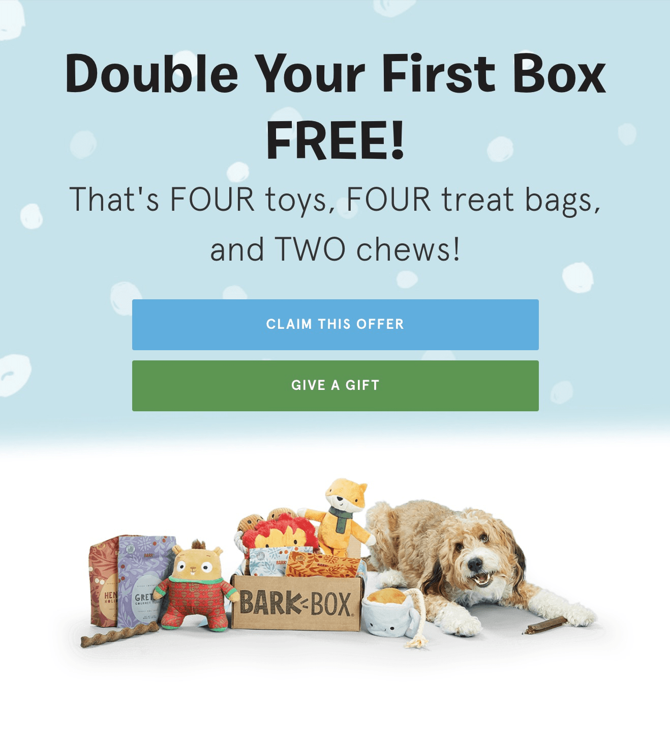 BarkBox Coupon: Double Your First Box for FREE with Subscription!