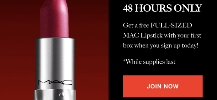 Allure Beauty Box 48 Hour Flash Sale: FREE Full-Sized MAC Lipstick with Subscription!