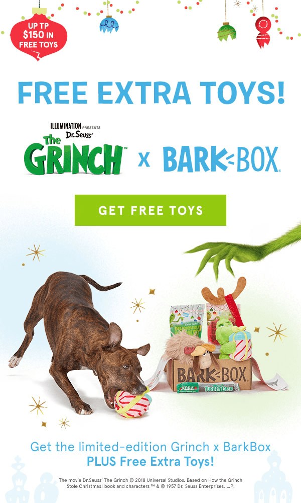 BarkBox Flash Sale: Limited Edition Theme Grinch Guarantee + Free Extra Toy Club!
