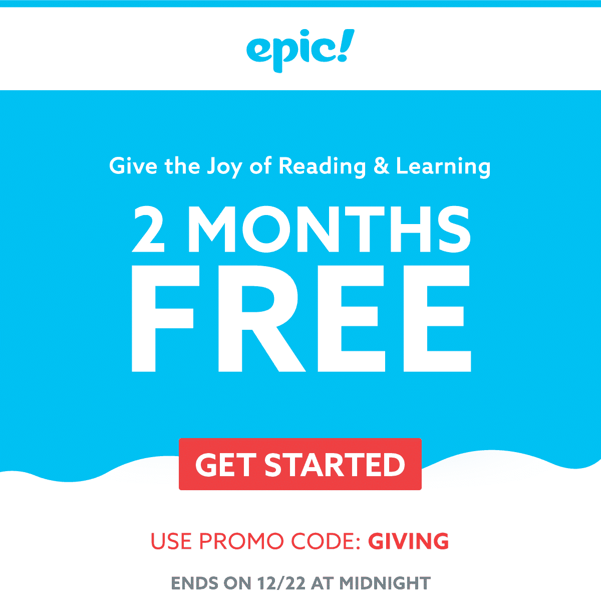 Epic! Kids Books Holiday Coupon: Get 2 Months FREE!