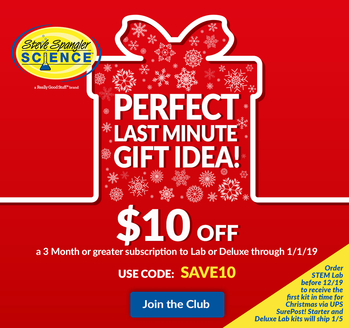 Spangler Science Club Last Minute Gift Sale: Save $10 On 3+ Month Subscriptions!