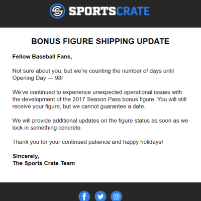 Sports Crate: MLB Edition Bonus Figure Shipping Update!