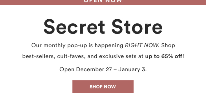 Julep January 2019 Secret Store Open!