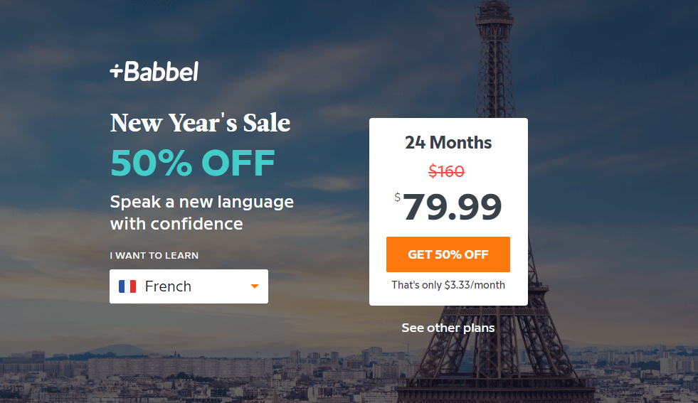 Babbel New Year Sale: Get 50% Off 24-Month Subscription! LAST DAY!