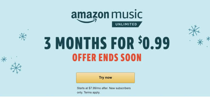 Amazon Music Unlimited Deal – 3 Months for 99¢!