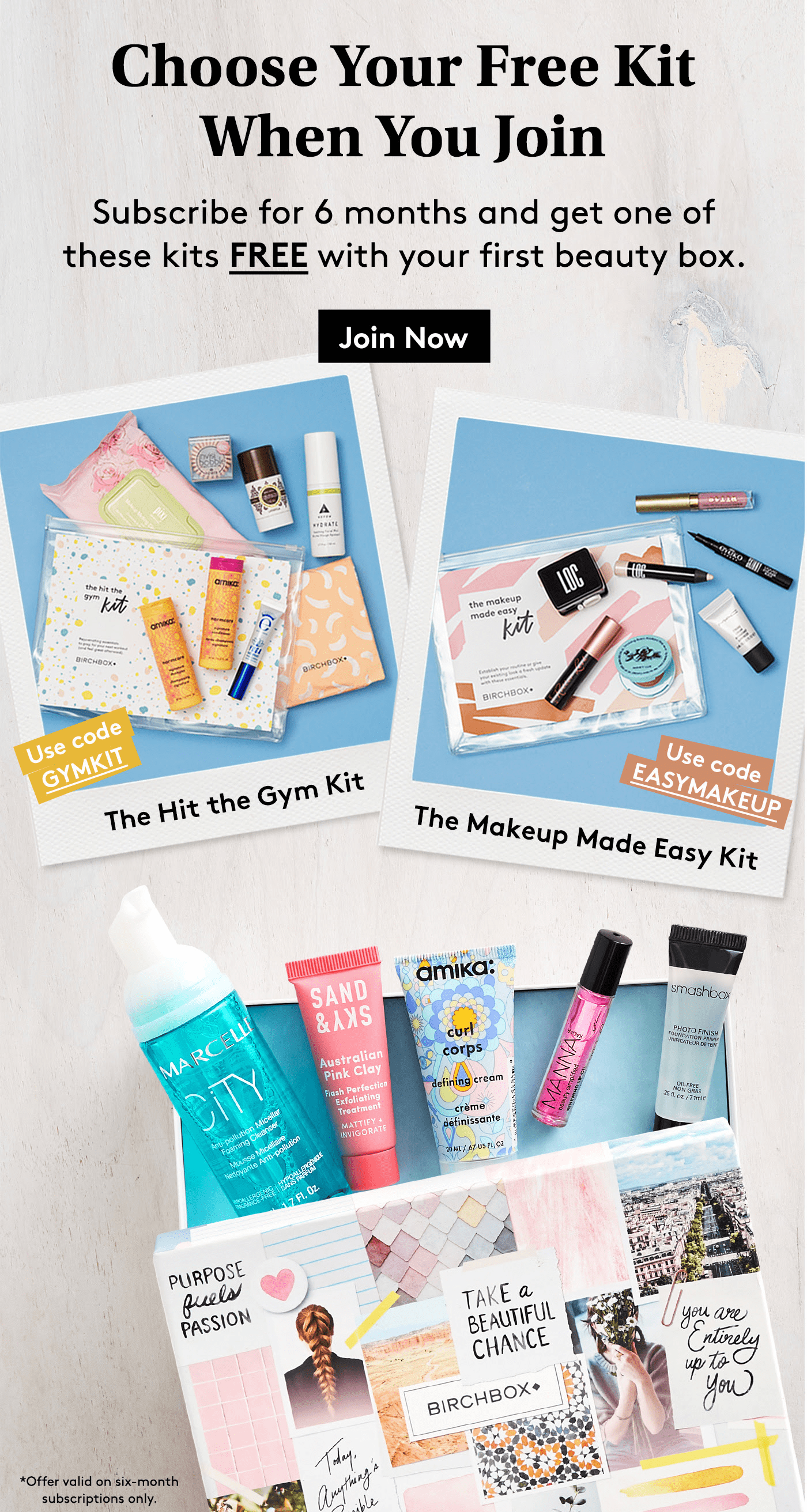 Birchbox Coupon: Get the Hit the Gym Kit or Makeup Made Easy Kit for FREE!
