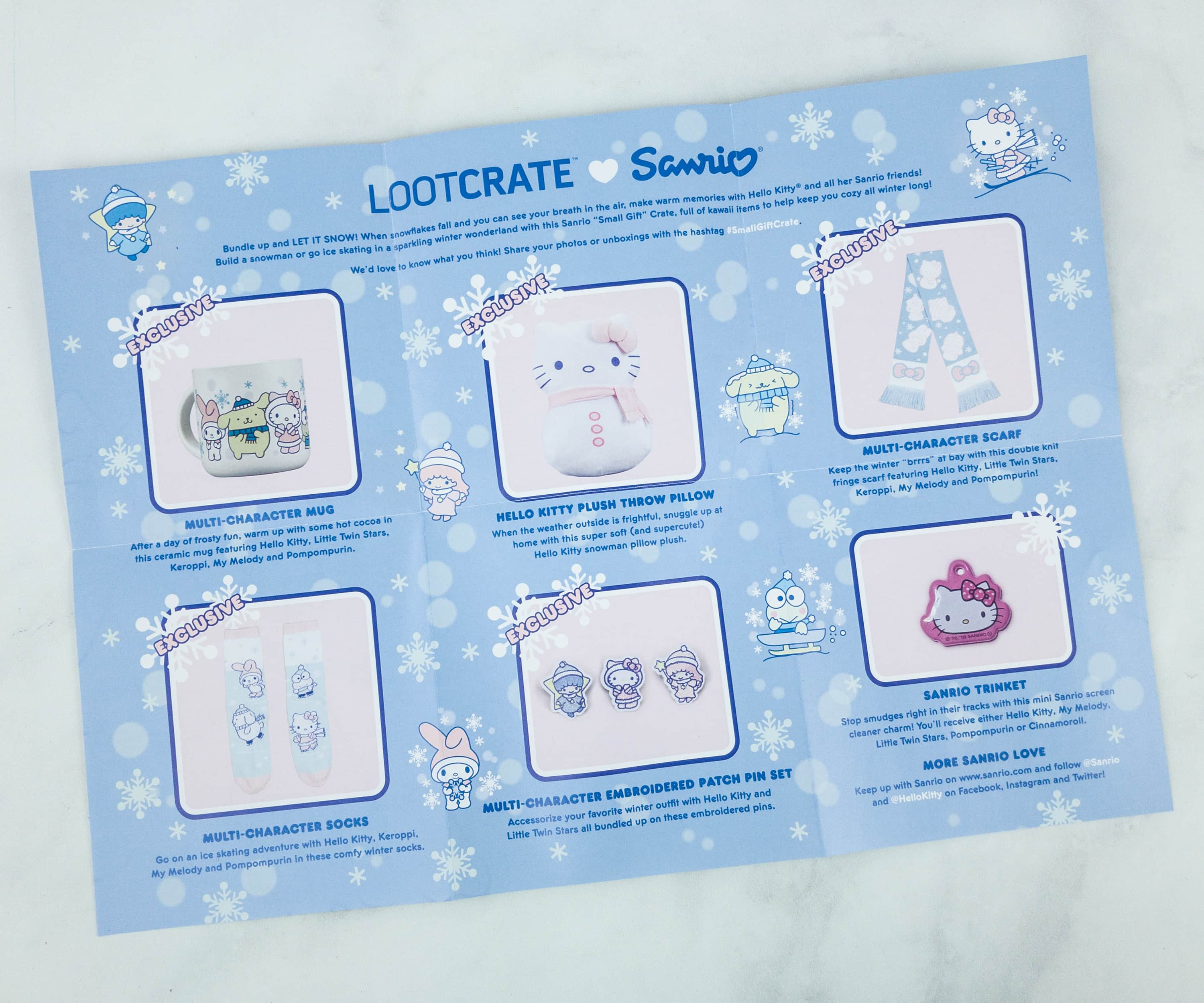 305bc9def This cute information sheet provides item descriptions, as well as more  information from Sanrio. Everything in the Winter 2018 Box!