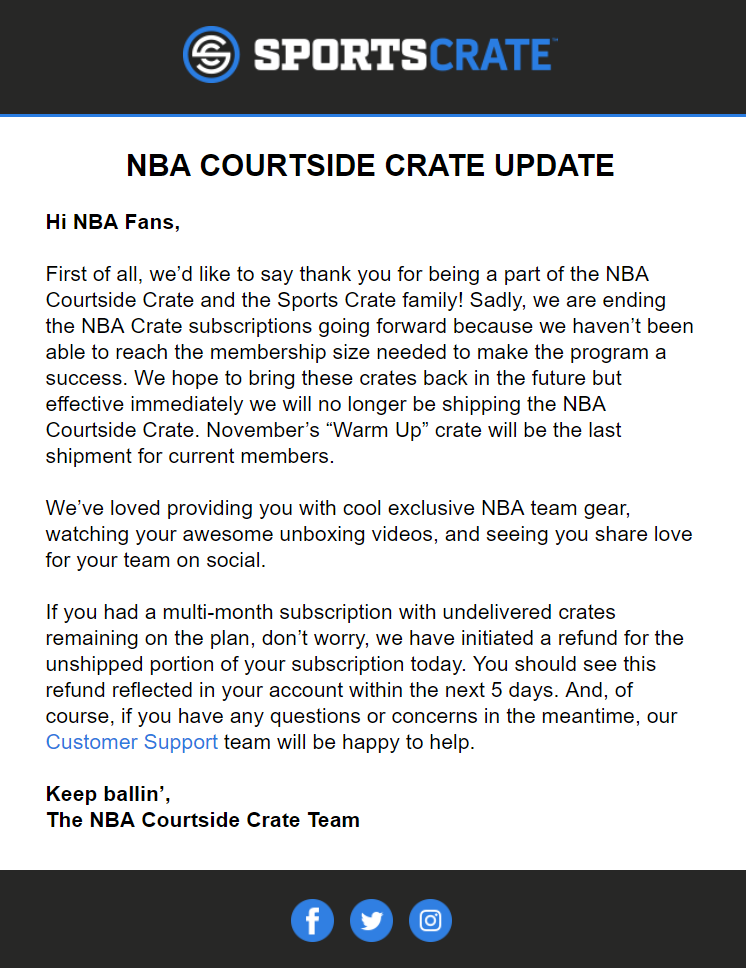 Sports Crate: NBA Courtside Edition Subscription Closing!