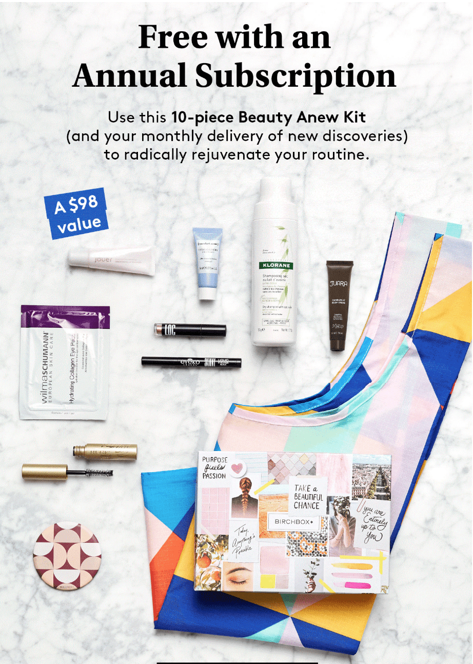 Birchbox Coupon: Get the Beauty Anew Kit FREE with Subscription!