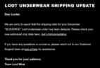 December 2018 Loot Undies Shipping Update
