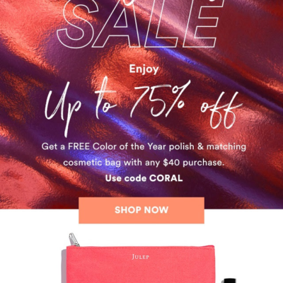 Julep Gift With Purchase Code: Get FREE Polish & Cosmetic Bag With Any $40 Purchase!