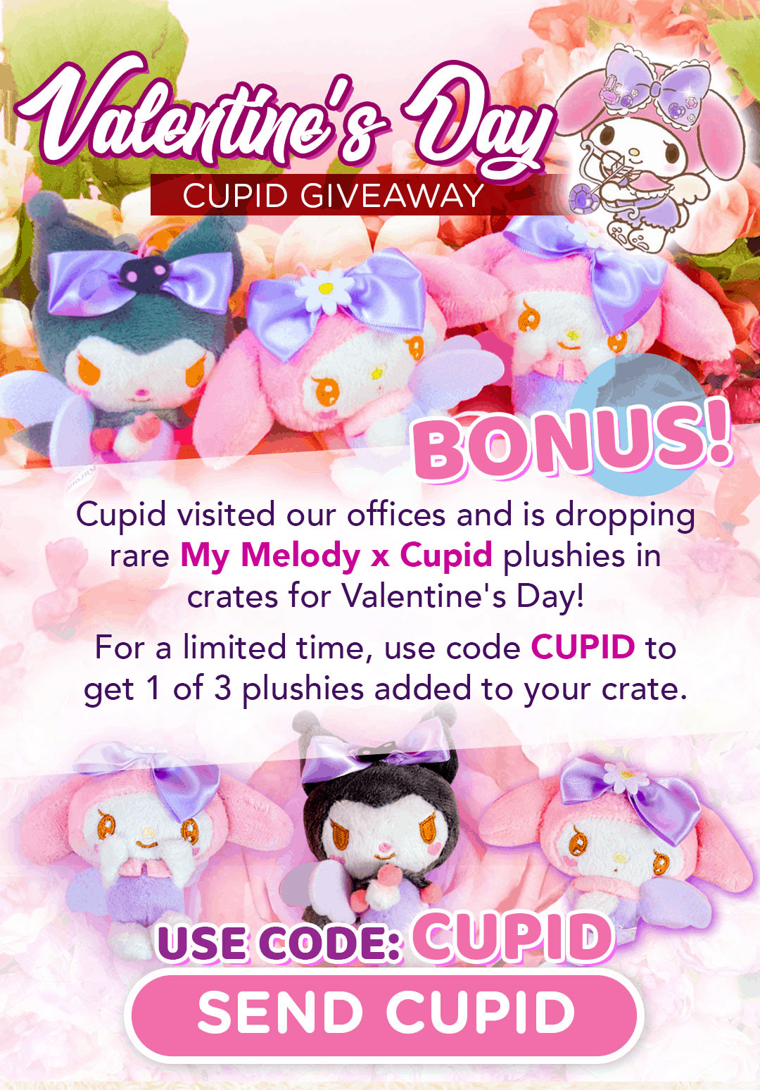 Doki Doki Coupon: Get Bonus My Melody X Cupid With Your First Crate!
