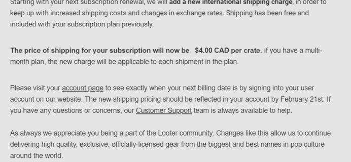 Loot Crate International Shipping Price Update!