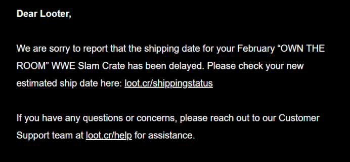 WWE Slam Crate February 2019 Shipping Update