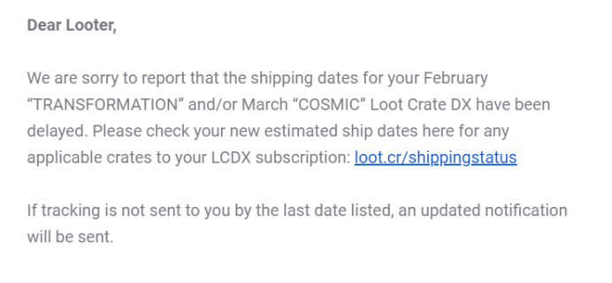February + March 2019 Loot Crate DX Shipping Update