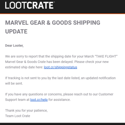 Loot Crate Marvel Gear + Goods March 2019 Shipping Update