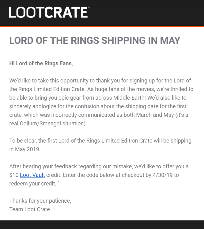Loot Crate Lord of the Rings Limited Edition Crate Shipping Update!