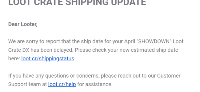 April 2019 Loot Crate DX Shipping Update