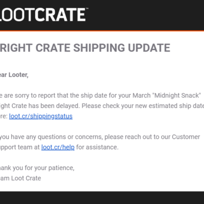 Loot Fright March 2019 Shipping Update #2 + Coupon