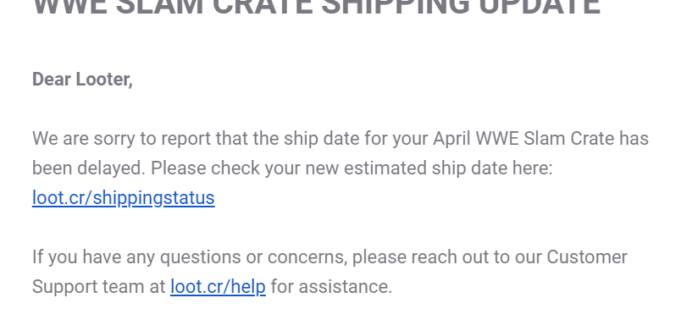 WWE Slam Crate April 2019 Shipping Update