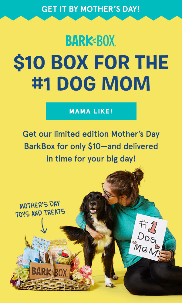 LAST CHANCE to get the BarkBox Mother's Day Box + First Box For $10!