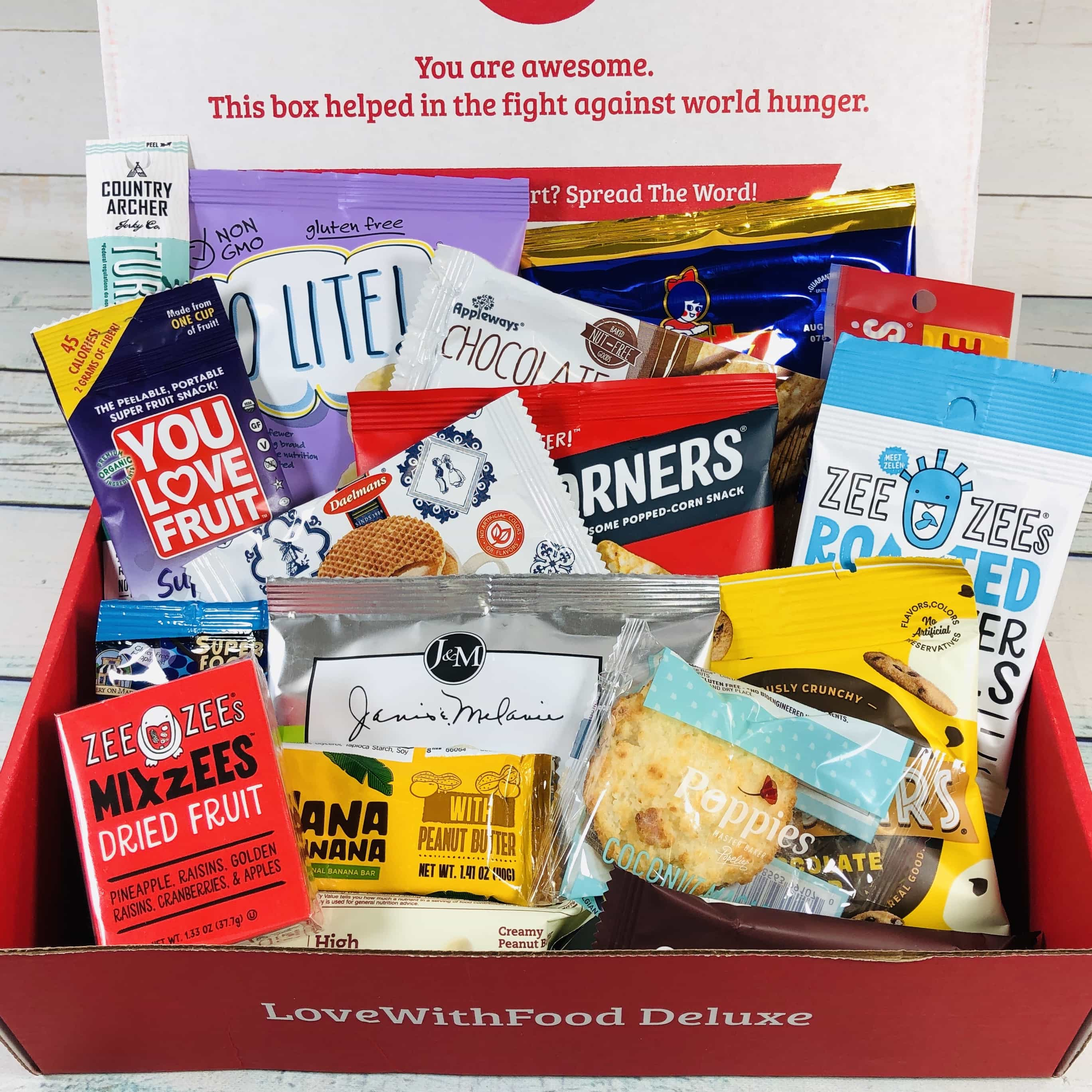 4ce8d3aaa6e Love With Food's classic Tasting Box sends 8 gourmet or artisan snacks and  food items every month – and donates food to the hungry with every box sold.
