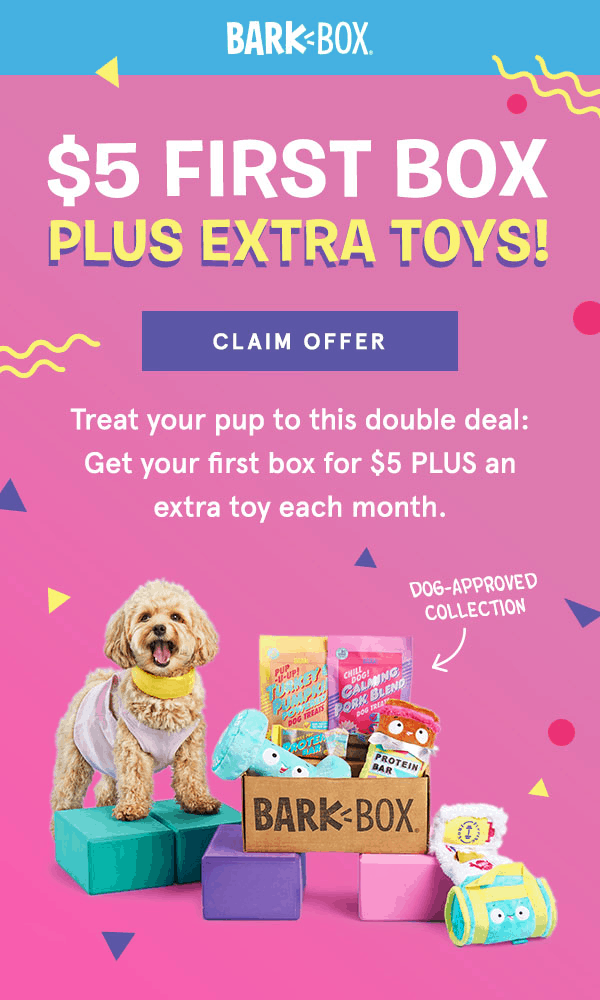 BarkBox Coupon: First Box $5 + FREE Extra Toys!