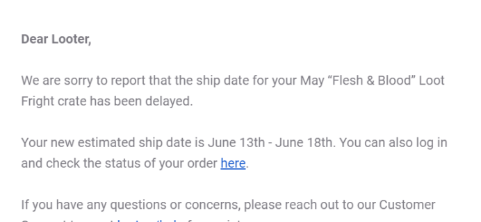 Loot Fright May 2019 Shipping Update + Coupon